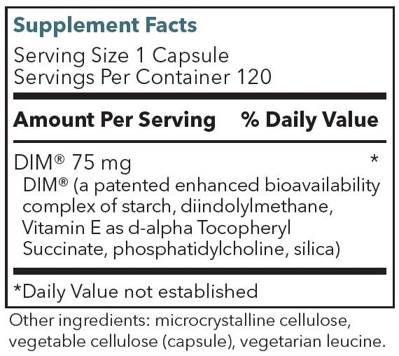 DIM Supplement Facts Label