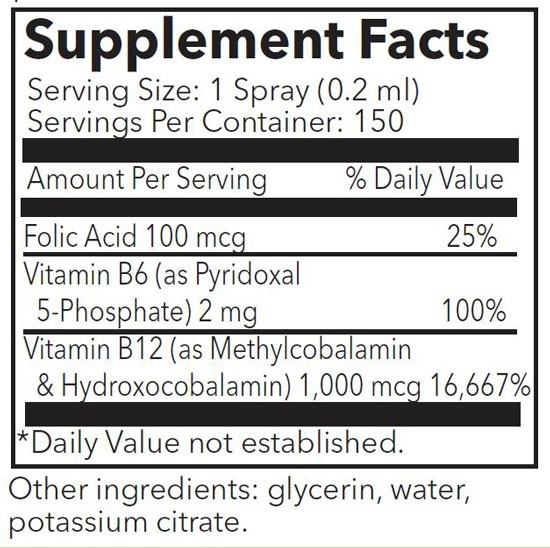 Energetic B12 Spray Supplement Facts Label