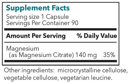 Magnesium Citrate Supplement Facts Label