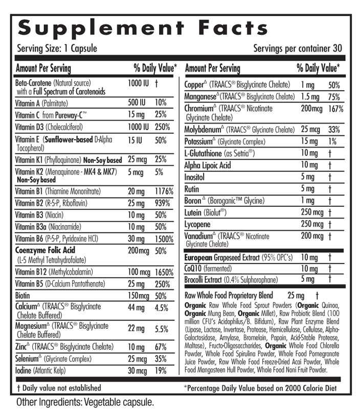 Supplement Facts - Once-A-Day Women's 45+ Multi Vit-A-Min 30 caps