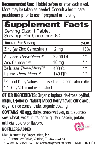 Supplement Facts - Acid Soothe Chewable Berry by Enzymedica