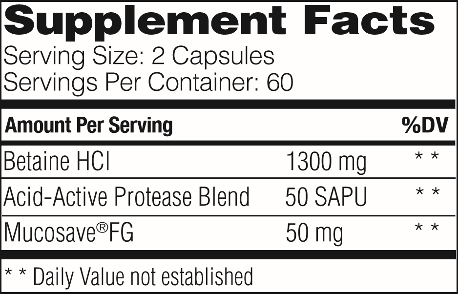 Supplement Facts - Betaine HCL by Enzymedica