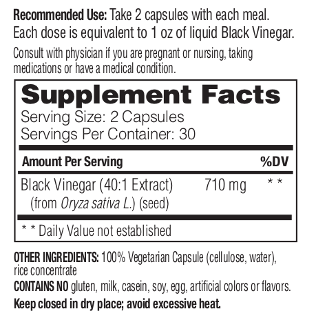 Supplement Facts - Black Vinegar Capsules