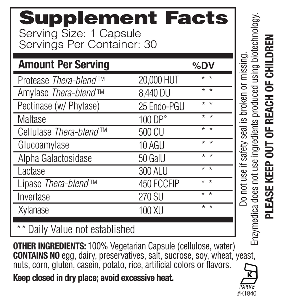 Supplement Facts - Digest Basic by Enzymedica