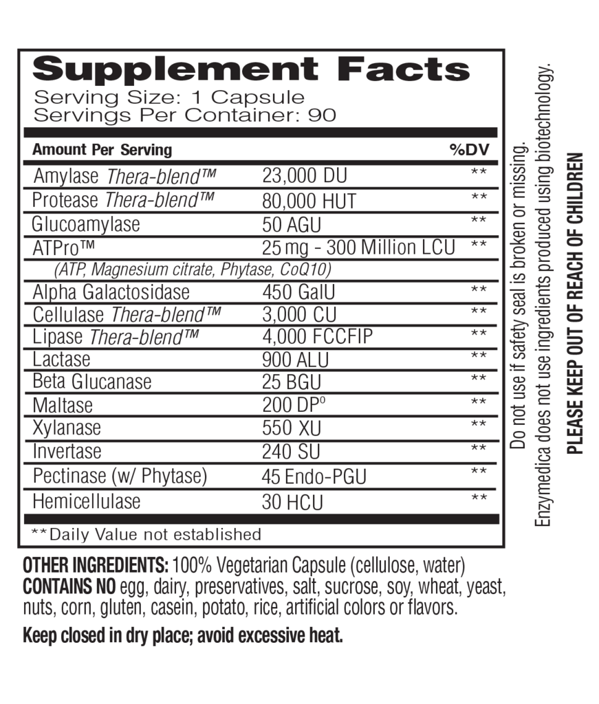 Supplement Facts - Digest Gold by Enzymedica