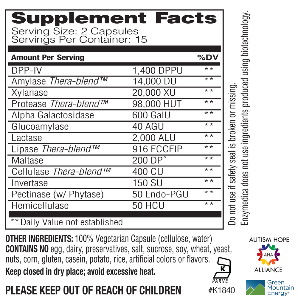 Supplement Facts - Digest Spectrum by Enzymedica