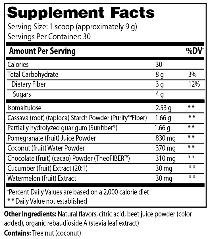 Supplement Facts - Purify™ Fiber Drink + by Enzymedica