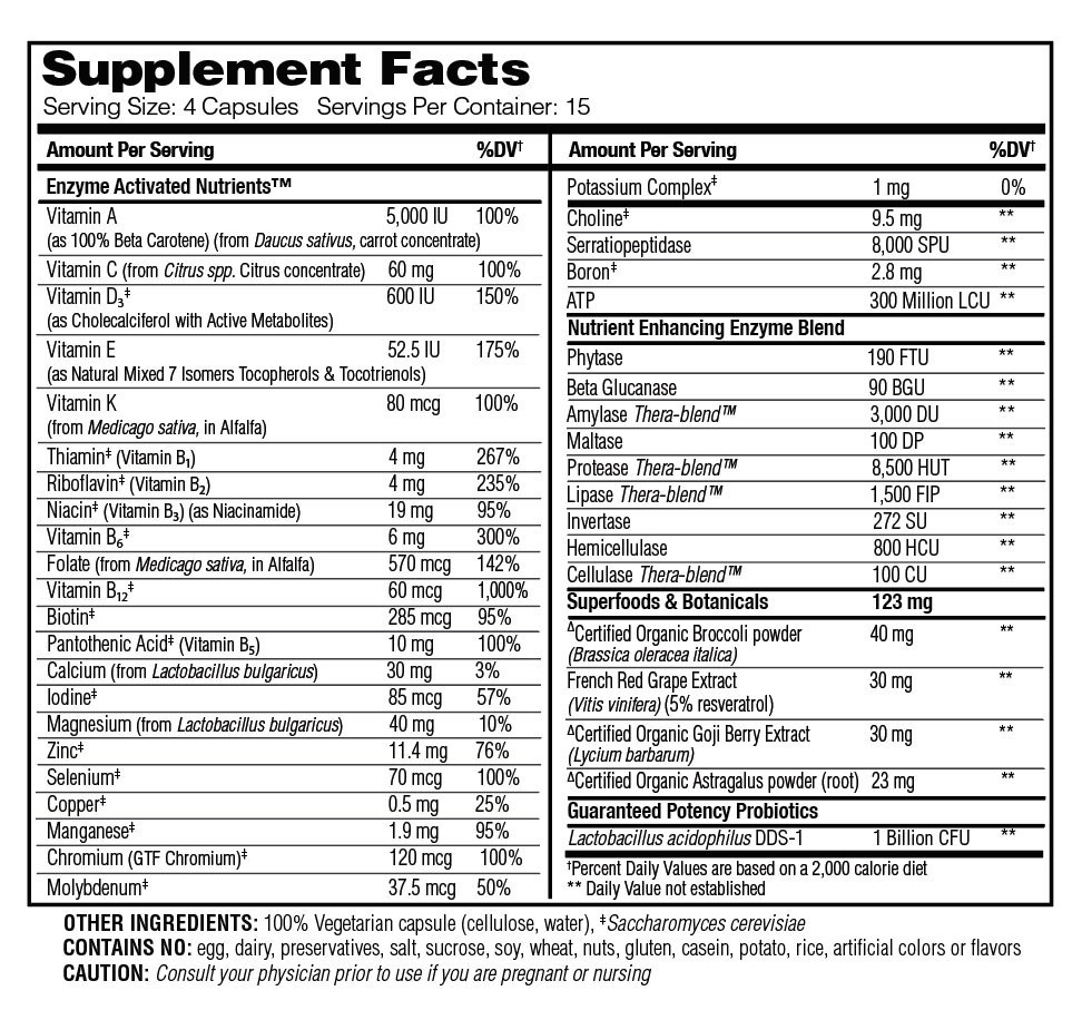 Supplement Facts - Enzyme Nutrition Multi-Vitamin - Women's 50+ by Enzymedica