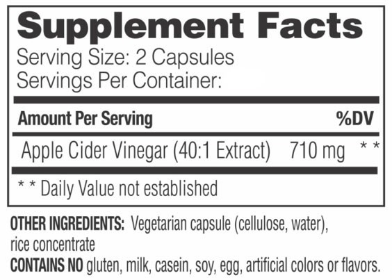 Supplement Facts - Apple Cider Vinegar Capsules