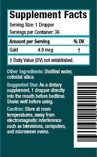 Colloidal Gold product label