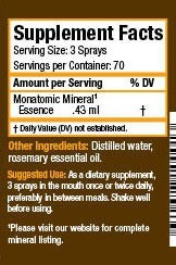 Etherium Gold homeopathic spray product label