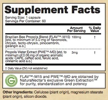 Supplement Facts - Bee Propolis Trio