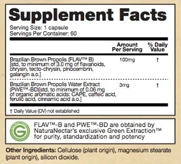 Supplement Facts - Brown Bee Propolis