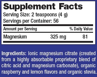 Supplement Facts - Natural Calm Raspberry-Lemon by Natural Vitality
