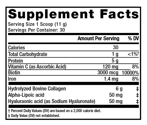 Supplement Facts - Beauty Infusion Cranberry