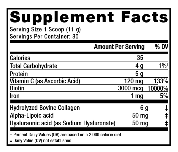 Supplement Facts - Beauty Infusion Tangerine