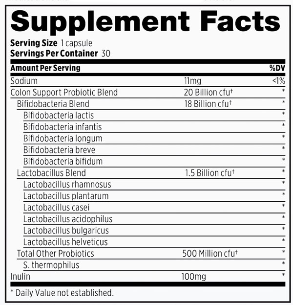 Supplement Facts - Probulin Colon Support Probiotic