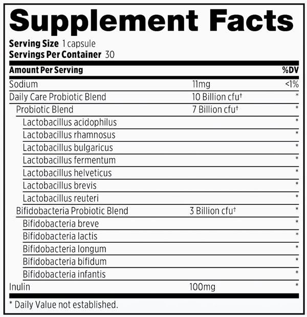 Supplement Facts - Probulin Daily Care Probiotic
