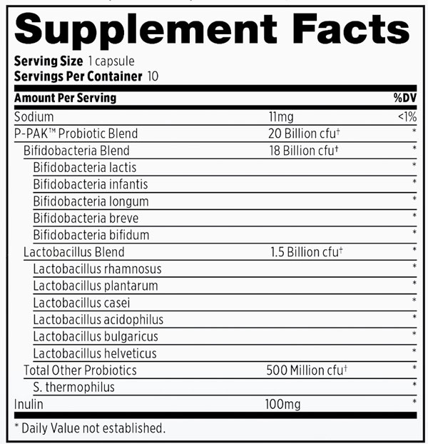 Supplement Facts - Probulin P-PAK Probiotic
