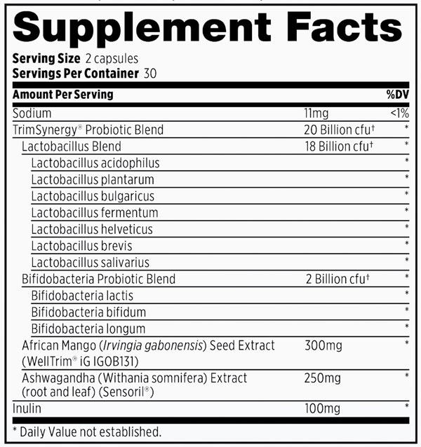 Supplement Facts - Probulin TrimSynergy Probiotic