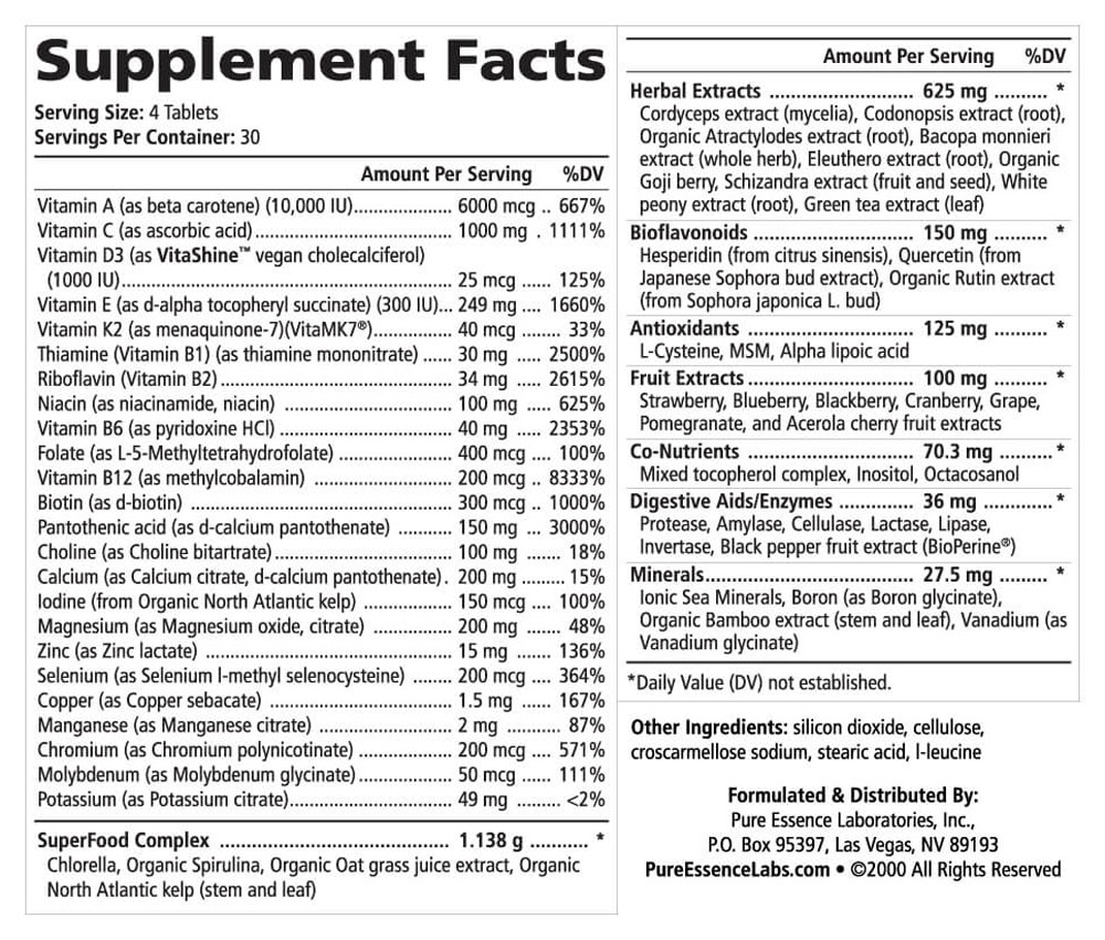 Life Essence Supplement Facts