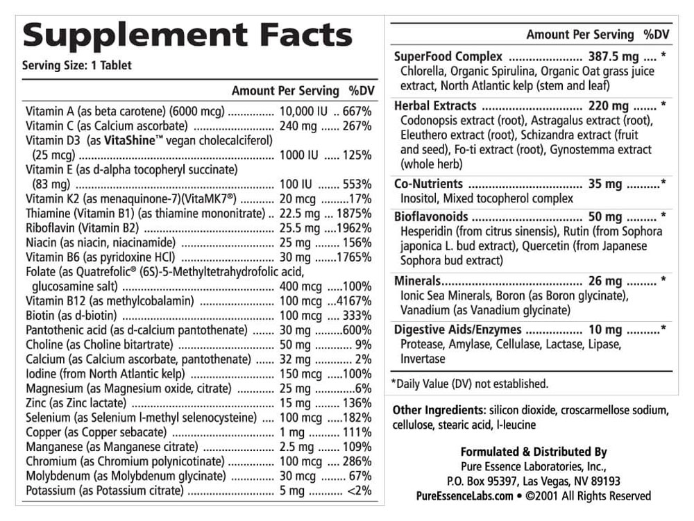 One N Only Supplement Facts