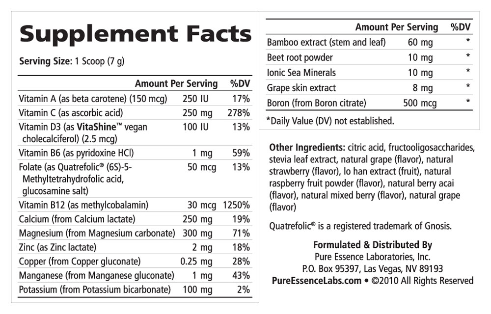 Supplement Facts - Ionic-Fizz Calcium Plus Mixed Berry