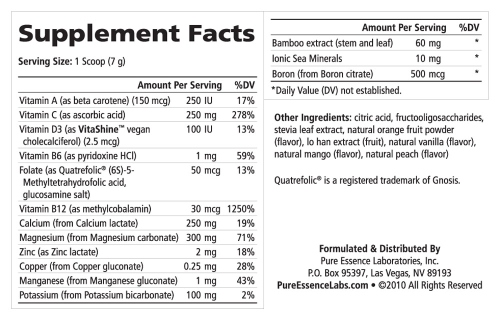 Supplement Facts - Ionic-Fizz Calcium Plus Orange Vanilla