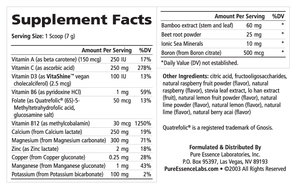 Supplement Facts - Ionic-Fizz Calcium Plus Raspberry Lemon