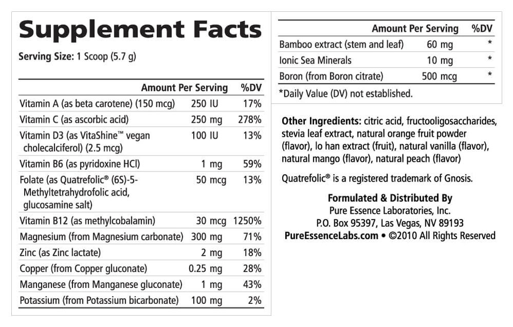 Supplement Facts - Ionic-Fizz Magnesium Plus Orange Vanilla
