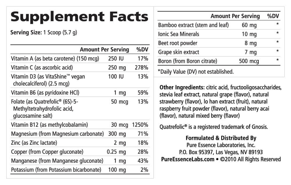 Supplement Facts - Ionic-Fizz Magnesium Plus Raspberry Lemon