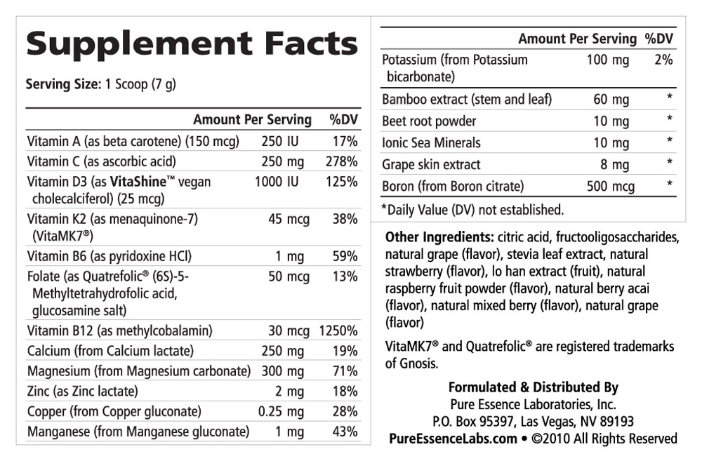 Supplement Facts - Ionic-Fizz Super D-K Calcium Plus Mixed Berry