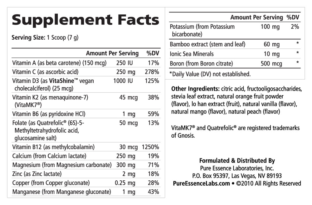 Supplement Facts - Ionic-Fizz Super D-K Calcium Plus Orange Vanilla