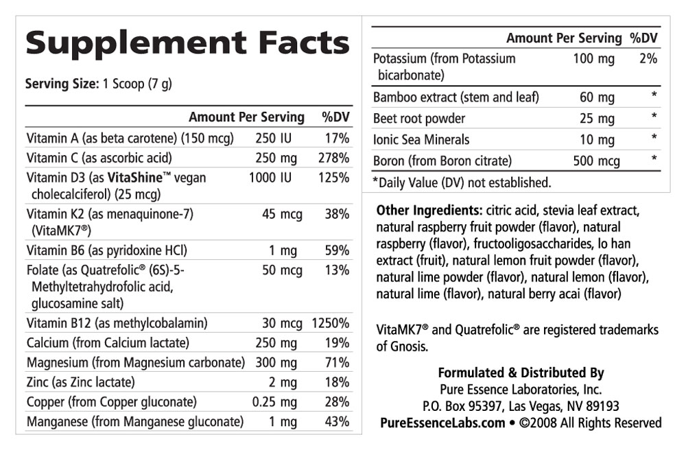 Supplement Facts - Ionic-Fizz Super D-K Calcium Plus Raspberry Lemon