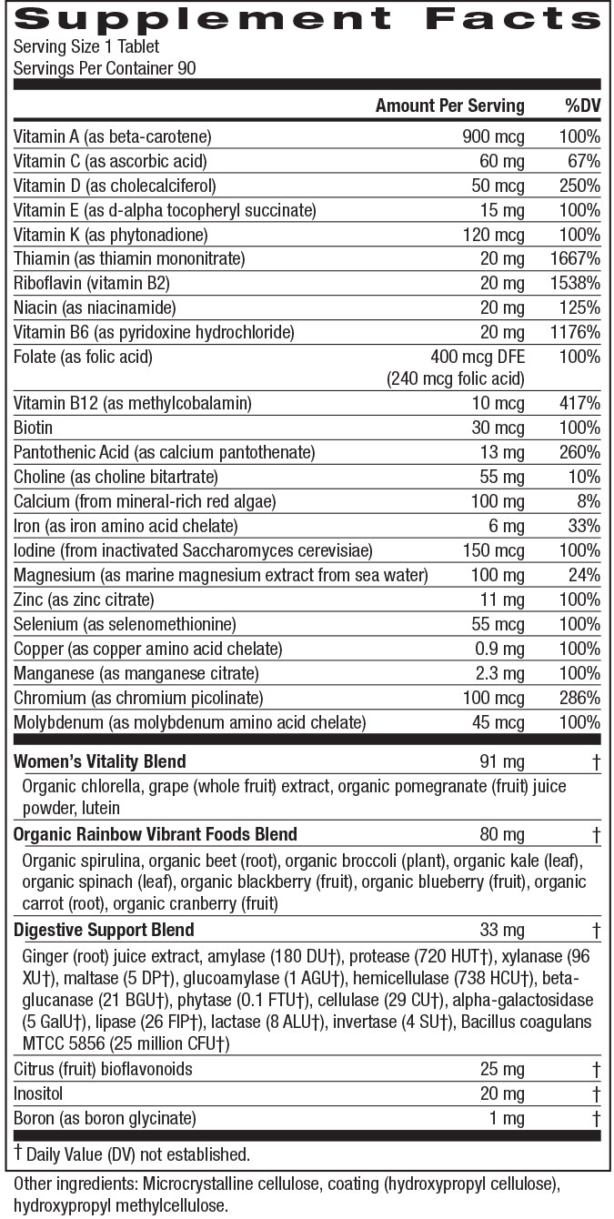 Supplement Facts - Women's One Multi-Vitamin by Rainbow Light