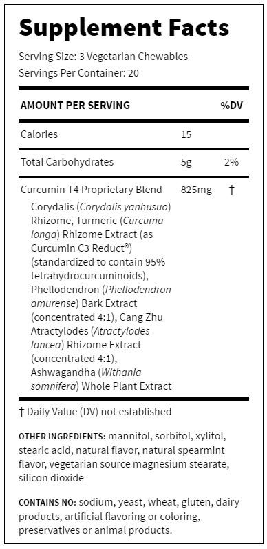 Supplement Facts - Curcumin T4 Chewable