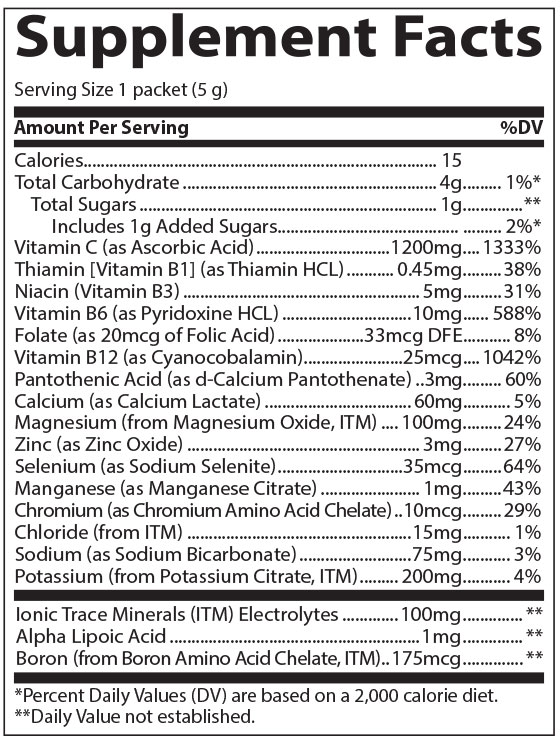 Supplement Facts Electrolyte Power Pak Tangerine Flavor