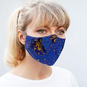 Silk & Cotton Face Mask - Deep Blue