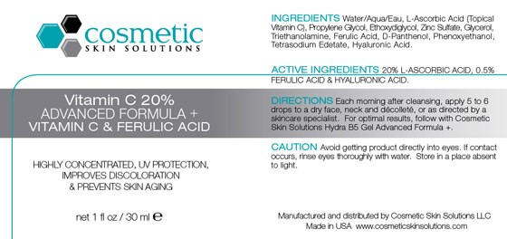 Vitamin C 20%  Serum with Ferulic Acid Label