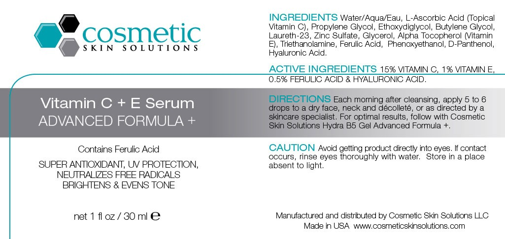 Vitamin C + E Serum with Ferulic Acid Label